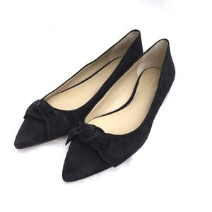 Ann Taylor Black Camryn Suede Bow Flats